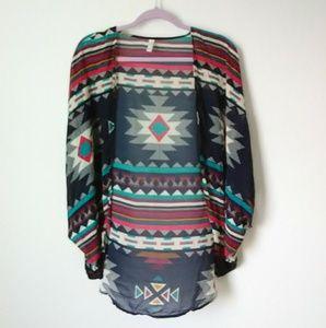 Colorful Breezy Sheer Poncho / Shawl